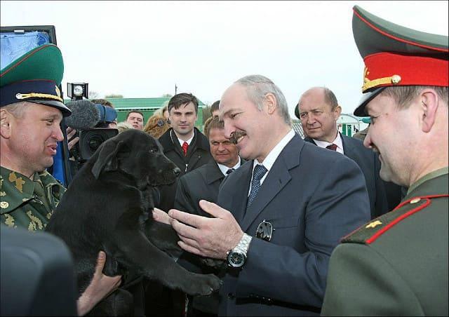 Александр Лукашенко и черный лабрадор