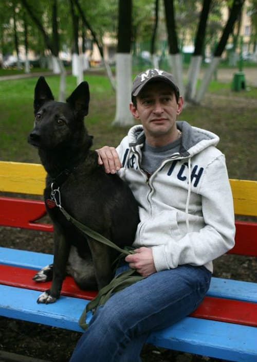 Константин Хабенский с собакой