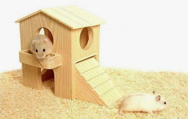 Деревянный домик для хомяка